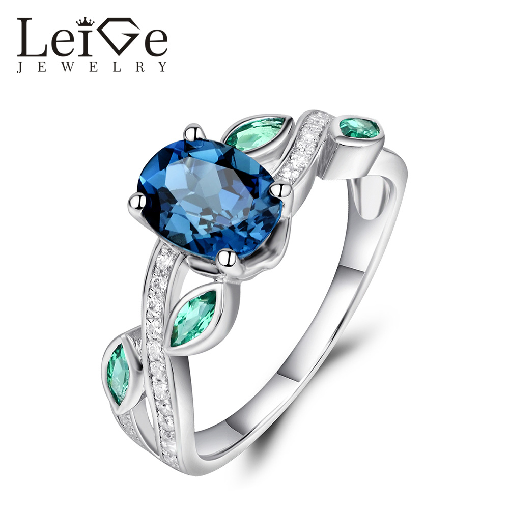 Leige Jewelry 925 Silver London Blue Topaz Ring Oval Cut Anniversary Promise Rings for Women Fine Jewelry Gemstone leige jewelry swiss blue topaz ring oval shaped engagement promise rings for women 925 sterling silver blue gemstone jewelry