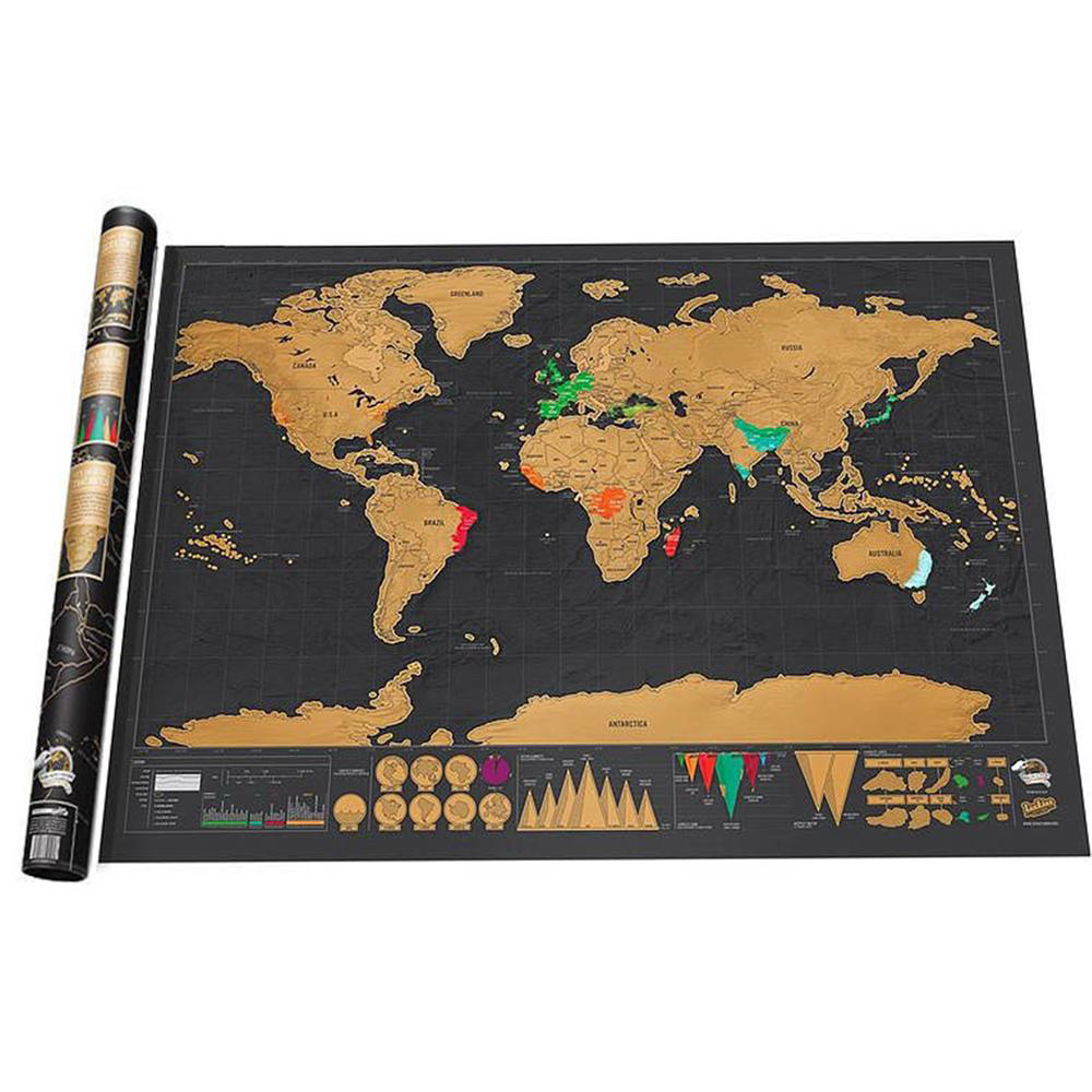 Scratch Off World Travel Map Poster Copper Sticker Personalized Journal Log 82.5*59.4cm Big Size Without Cylinder