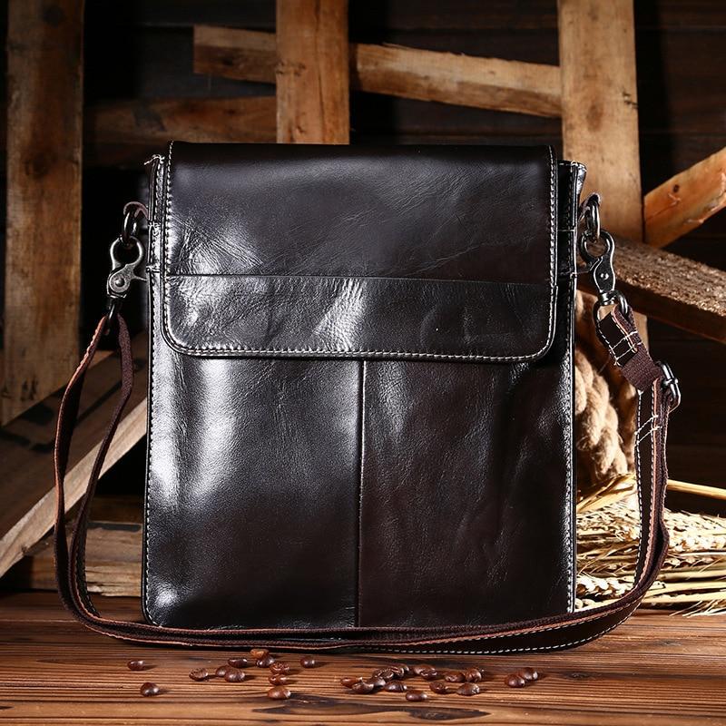 ФОТО 2016 New Real Cowhide Genuine Leather Bag Black Shoulder Handbags Men Messenger Bag Men Leather Small Men's Sling Bags