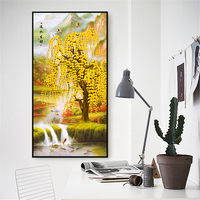 YongHe Home Decorative Spray Canvas Printing Yellow Tree Beside River Chinese Poster Wall Pictures For Decorate Living Room