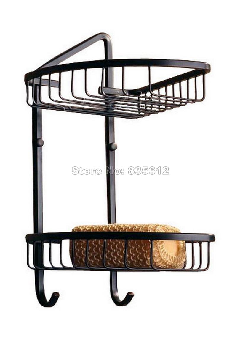 Us 77 99 35 Off Black Oil Rubbed Bronze 2 Tier Wall Mounted Bathroom Large Corner Shower Storage Basket Bathroom Shelves Wba122 In Bathroom