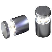 (Pacote/2 unidades) d25xl25mm cetim prata alumínio led através do furo suporte do painel offs parafuso de vidro acrílico braçadeira para anunciar|Conj. de porca e parafuso|   -