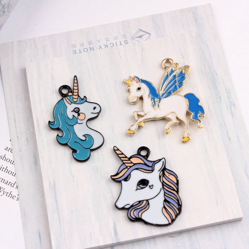 10pcs/pack Kid Girls Diy Chunky Enamel Unicorn Pendant Jewelry Findings Gold Color Charms Handmade Necklace Bracelet Accessories