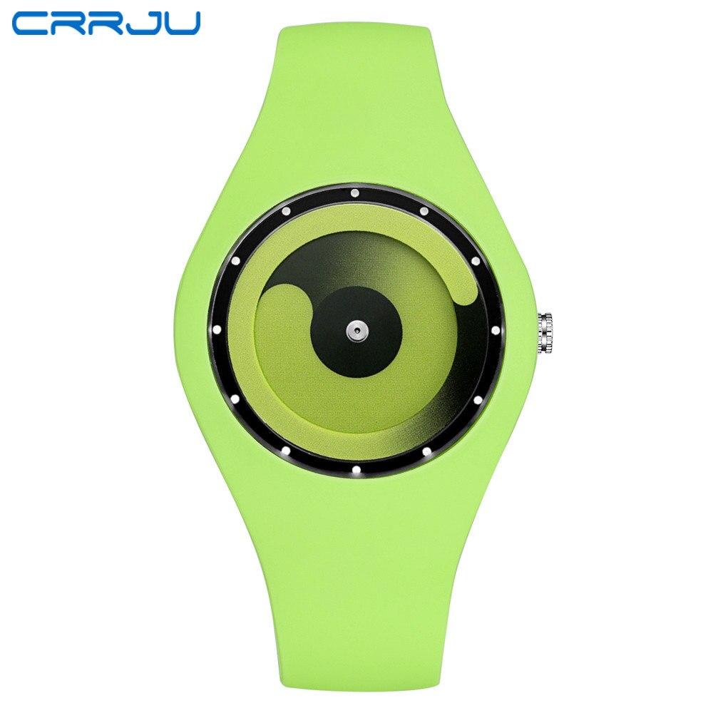 CRRJU Men Watch 2017 Top Brand Fashion High Quality Casual Simple Style Silicone Strap Quartz Watch Women Men Lovers Wrist Watch