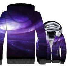 cosmic vortex starry 3D printed tracksuits man plus velvet thick wool liner hooded sweatshirt 2019 warm winter men hoody jackets
