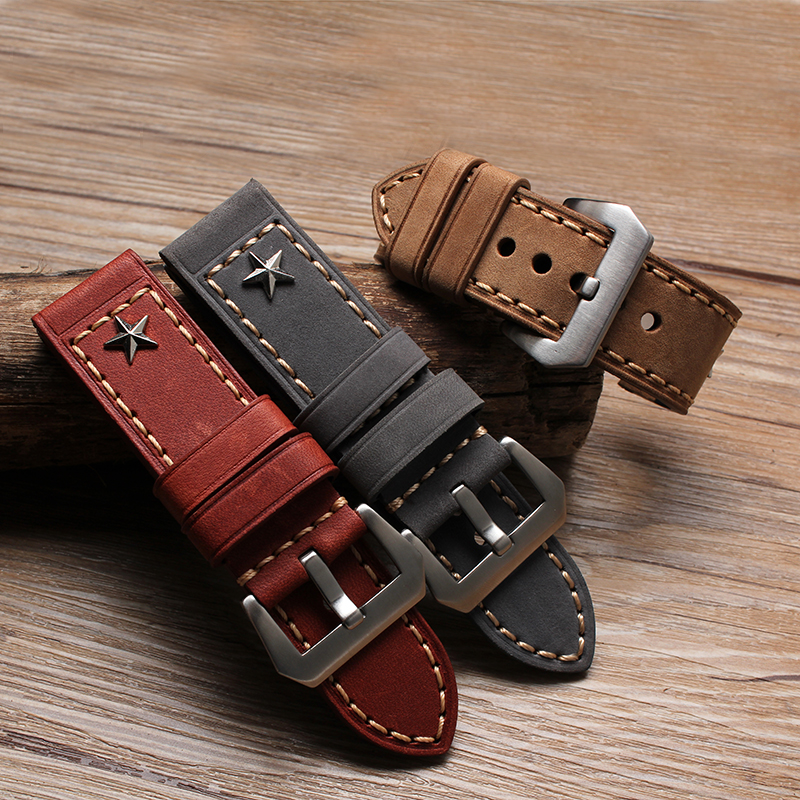 Hot sale 24mm 26mm New Arrival watchband bracelets high quality Genuine Leather Watch Strap For PAM free shipping 20mm 22mm 24mm 26mm khaki genuine leather watchband retro type watchband suitable for pam watches and rough watch free shipng