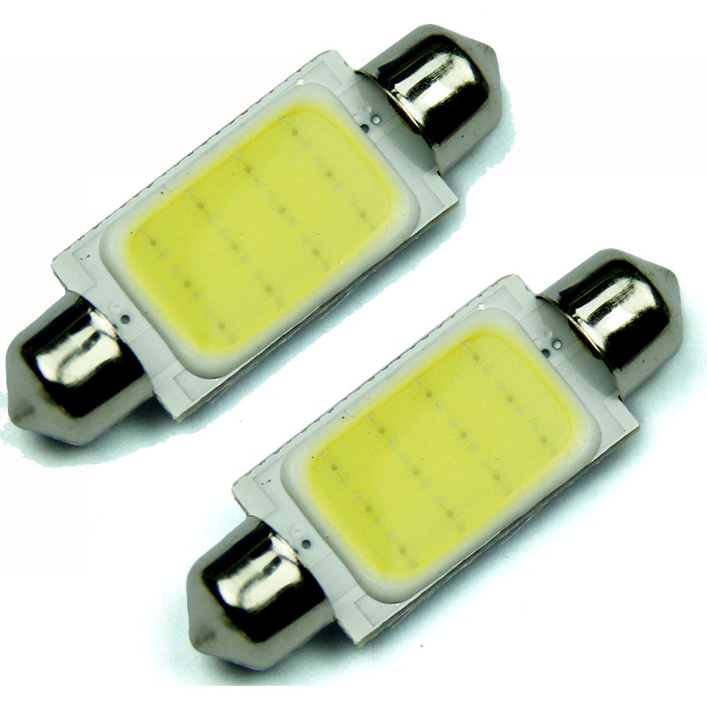 2PCS High Quality 42mm Festoon COB 12 CREE Chips DC 12V Universal LED Car Dome Reading Lights License Plate/Door/Backup @019 2014 new 2pcs 42mm festoon c10w plasma cob smd led canbus sv8 5 dome map trunk lights bulbs free shipping