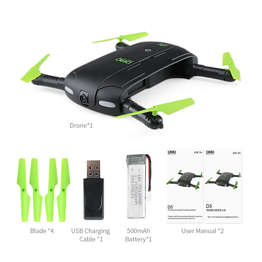 DHD D5 Wifi FPV Foldable Selfie Drone Altitude Hold Mode 3D Flips&Rolls Pocket RC Quadco ...