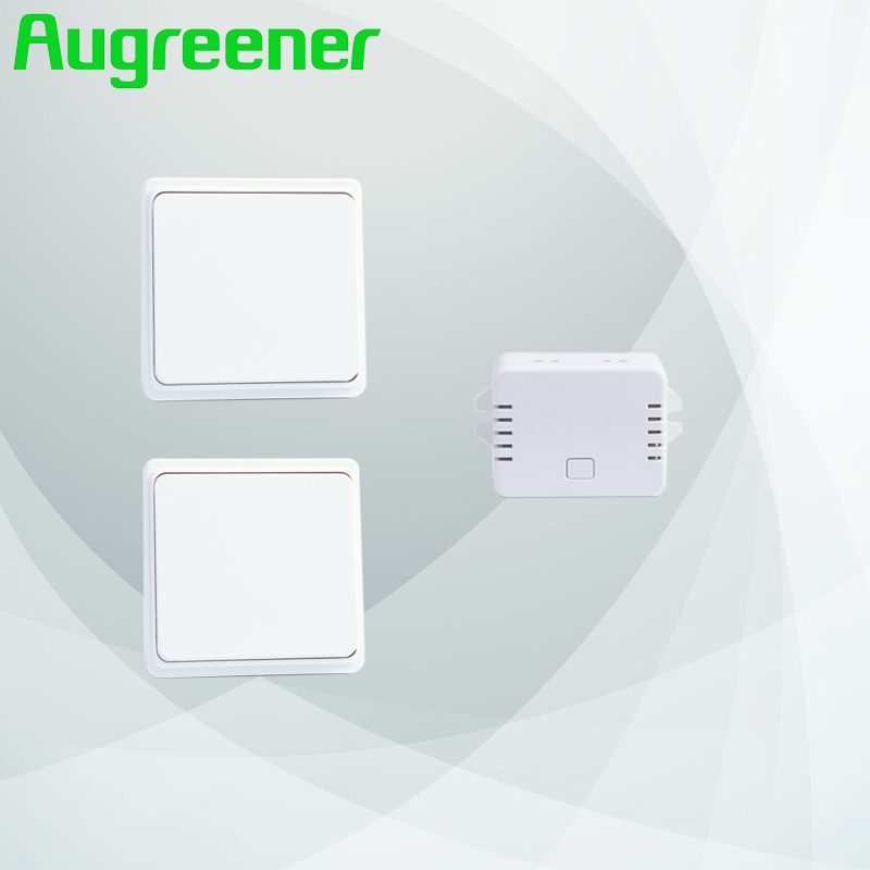 Augreener new 2 buttons + 1 receiver wireless switch remote control switch wall light switch free shipping push button switch