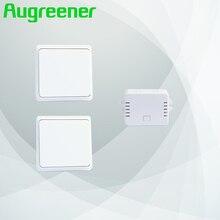 Augreener neue 2 tasten + 1 empfänger wireless-schalter fernbedienung wand lichtschalter kostenloser versand self powered schalter