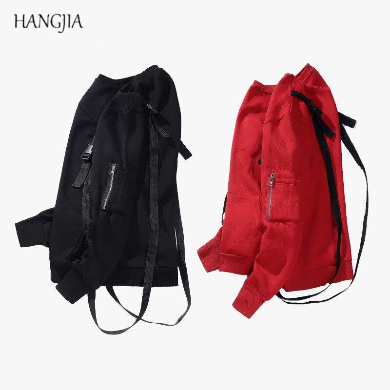Mens Streetwear Solid Color Plus Velvet Hoodies 2017 Personality Shoulder Strap Detachable Design Loose Sweatshirts Hip-hop