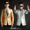 Blazer Para Os Homens de ouro de Prata de Ouro de Couro Blazer 2015 Nova trajes Clube Palco Cantora Couro PU Prata Ouro Jaqueta Blazer homens