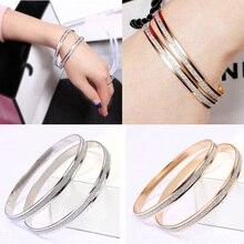 cd5b8d46387 1 Pair Fashion Women Bracelet Korean Jewelry Double Ring Matte Rose Gold Bangle  Female Round Circle