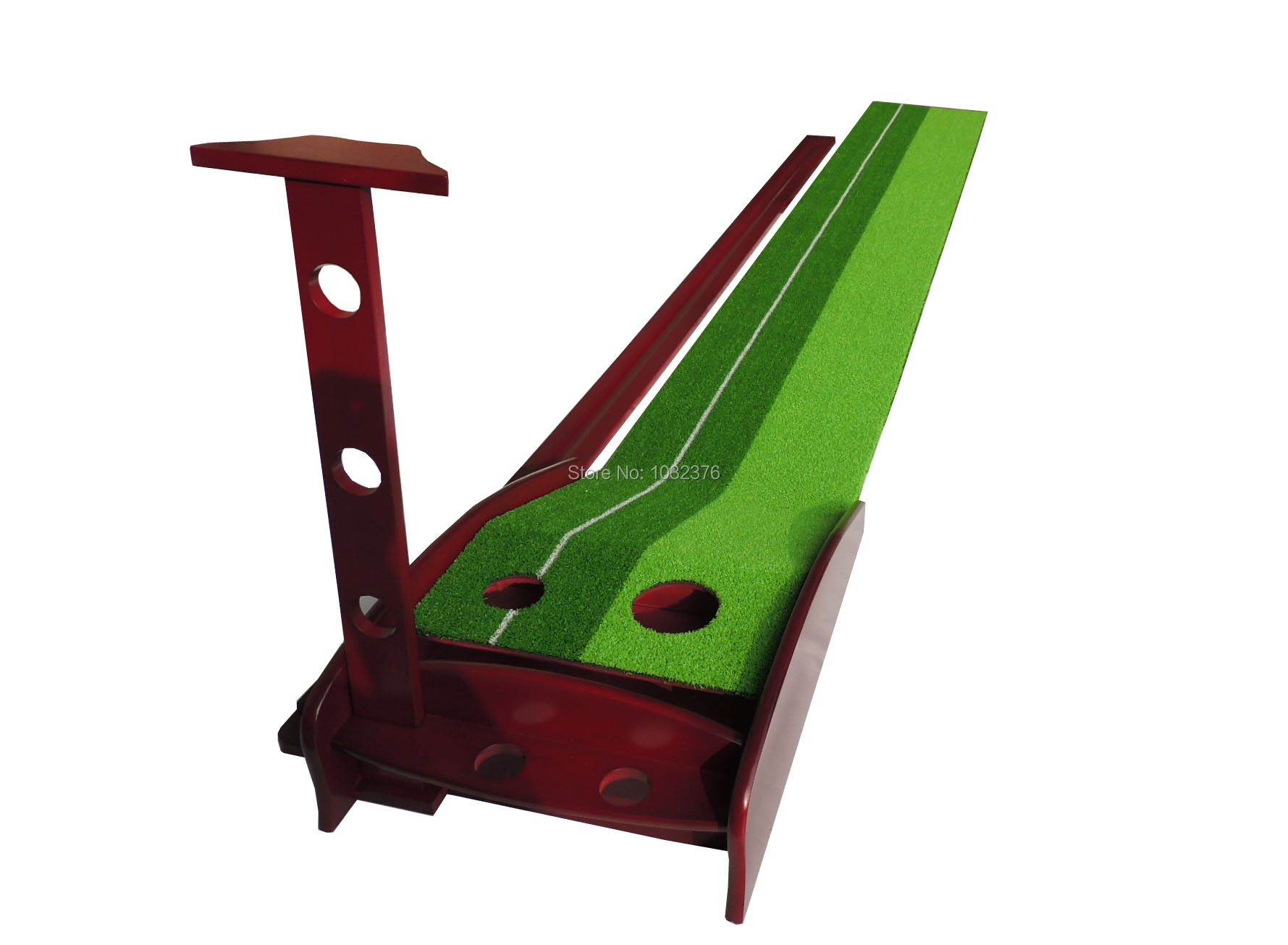 wooden golf trainer indoor golf putting practice golf putting mat mini golf putting trainer with automatic ball return indoor artificial grass carpet