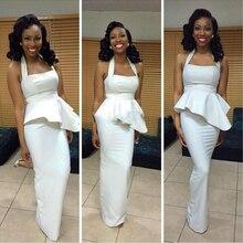 Weiße Lange Frauen Kleider 2016 Preiswerte Afrikanische Abendkleid vestido de festa Sexy Neckholder Gerade Formale Partei Kleid Für Abend