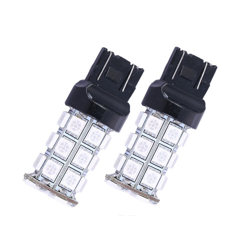 2X LED T20 27 SMD 5050 LED Car Light Brake Rear Stop Light Bulbs Lamps W21/5W 7443 LED Auto car styling parking led gold deco chandelier bulbs candle light e14 85 265v 5w lamps