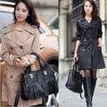 Plus size 2016 nueva otoño gabardina caqui mujeres de manga larga doble de pecho delgado temperamento femenino ocasional outwear ZX-144