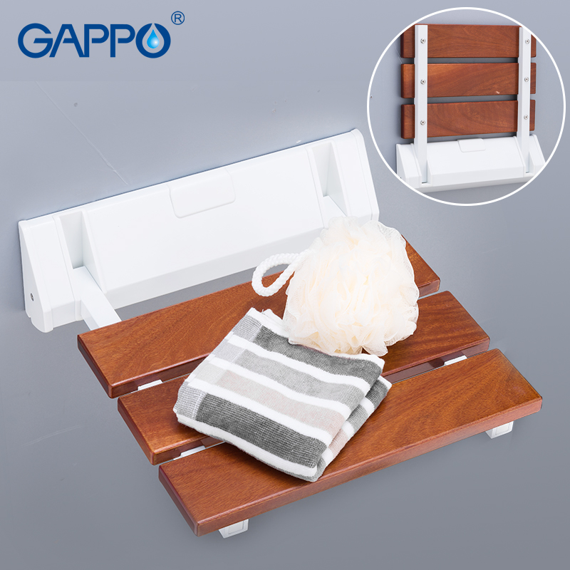 GAPPO Wall Mounted Shower Seats wall mounted bathroom chair folding bath seat solid wood and ABS plastic bench wall chairsGAPPO Wall Mounted Shower Seats wall mounted bathroom chair folding bath seat solid wood and ABS plastic bench wall chairs