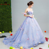Luxury Blue Evening Dresses 2019 Fashion Ball Gown Tulle 3D Flowers Appliques Party Gowns Dress Evening Gown CS163
