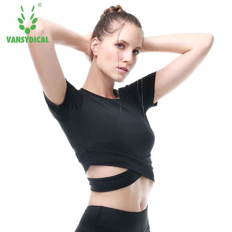 VANSYDICAL Yoga T-Shirts Intersect Tops For Women Dry Quick Gym Compression Womens Sport Running Bra Short Sleeve Shirts Tee
