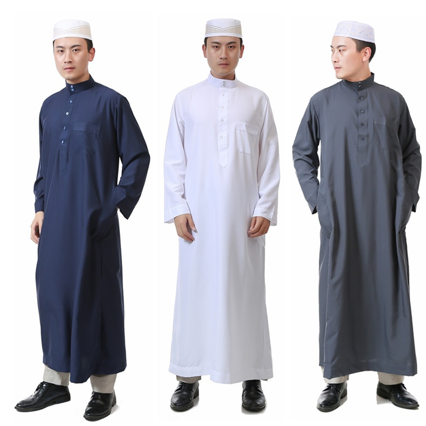 a1815fd1728c 7Color Islamic Clothing for Men Jubba Thobe Muslim Abaya Dubai Kaftan  Prayer Robes Arab Eid Costume Man Muslim Clothes Thobe