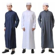 7Color Islamic Clothing for Men Jubba Thobe Muslim Abaya Dubai Kaftan Prayer Robes Arab Eid Costume Man Muslim Clothes Thobe