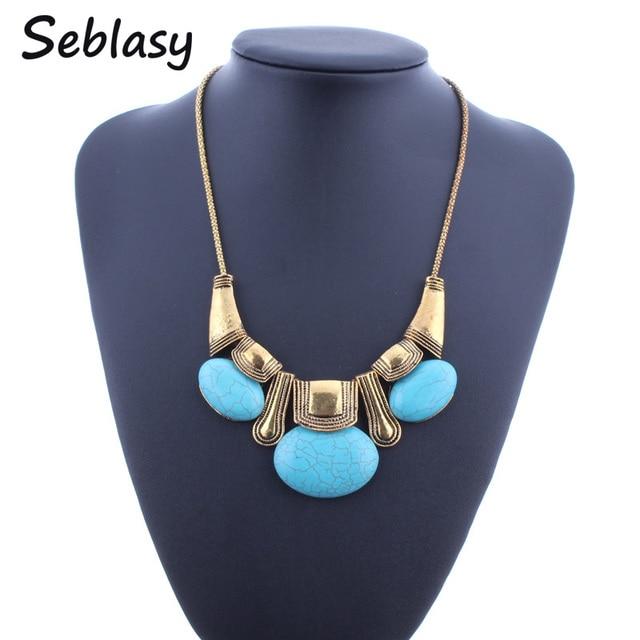Seblasy Vintage Antique Gold Color Geometric Bohemian Natural Stone Choker Necklaces & Pendants Statement Necklaces For Women