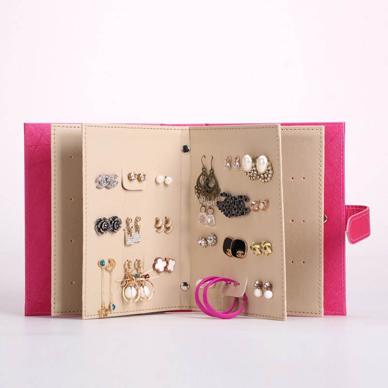 Protable Jewelry Earring Leather Storage Bags Multifunctional Travel Jewelry Case Earrings Necklace and Rings Organize