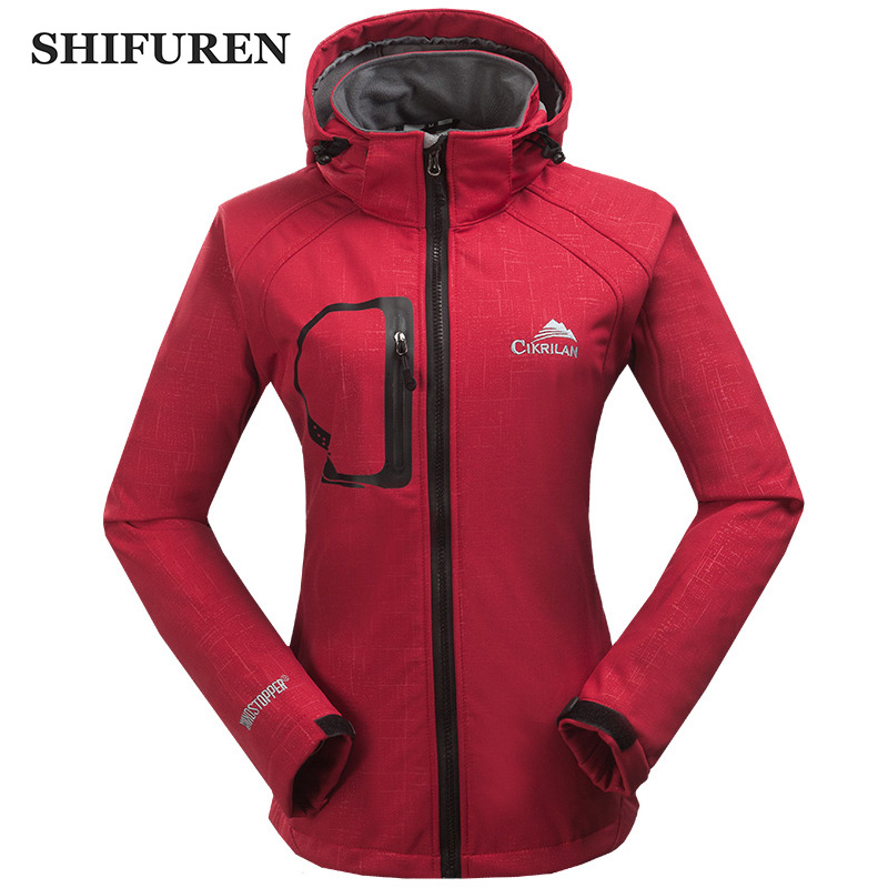 SHIFUREN Winter Warm Women Windbreaker Jacket Fleece Linned Climing Hiking Camping Hooded Softshell Jacket Long Sleeve S-XXL stylish hooded long sleeve color block women s dress
