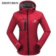 SHIFUREN Winter Warm Women Windbreaker Jacket Fleece Linned Climing Hiking Camping Hooded Softshell Jacket Long Sleeve S-XXL