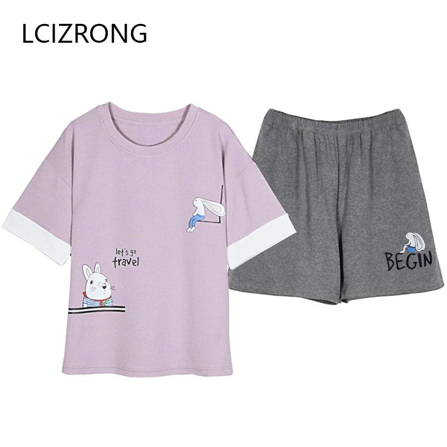 New Summer Cartoon Print Tops + Pants   Pajamas     Set   Women Cotton Soft Short Sleepwear Nightgown Cute Home Lingerie Female M-XXL