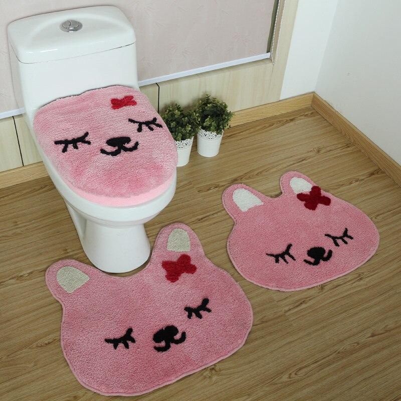 2pcs/set 3pcs/set Pink Rabbit Bathroom Mat Set Toilet Seat