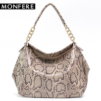 MONFERE Elegant Shoulder Bags for Women 2018 High Quality Snake Real Cow Leather Shiny Luxury Serpentine Pattern Tote Handbags