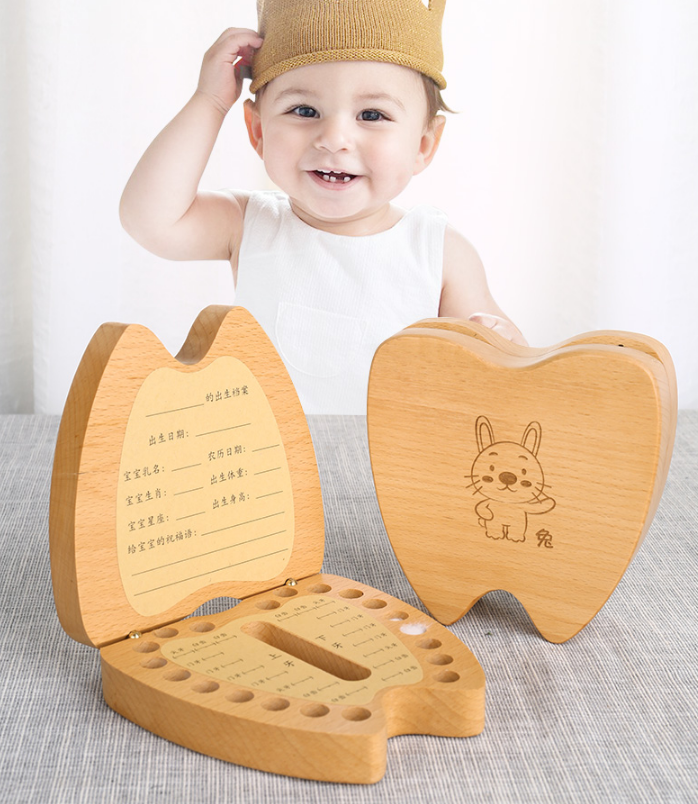 Wooden Design Girl Boy Tooth Organizer Boxes Baby Tooth Storage Box Organizer Milk Teeth Collect Box Teeth Collection Case Z753