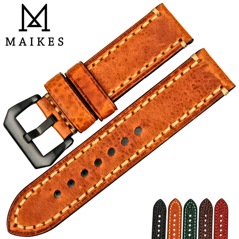 MAIKES Watch accessories Italian cow leather watch band 20mm 22mm 24mm 26mm watchbands men watch strap for Panerai maikes 18mm 20mm 22mm watch belt accessories watchbands black genuine leather band watch strap watches bracelet for longines