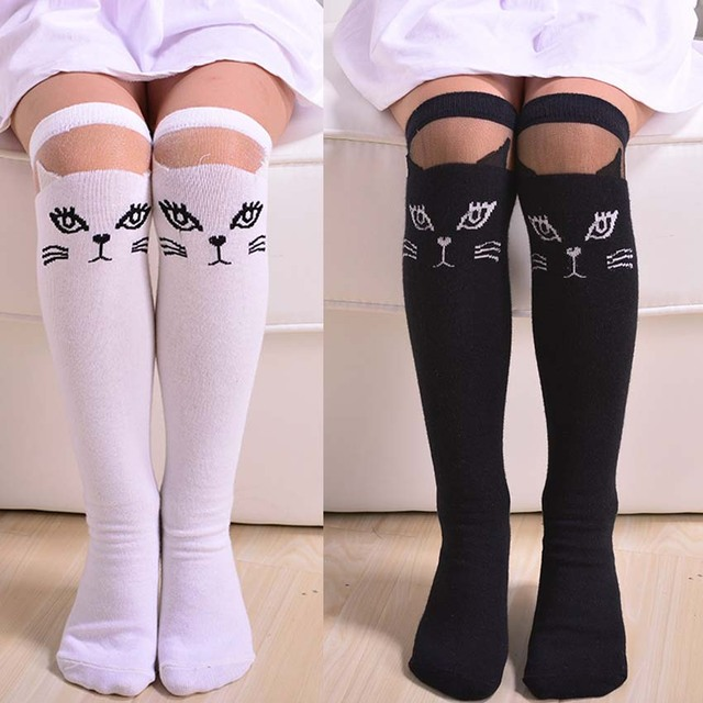 f136eb7e91a Toddlers Kids Cat Girls Knee High Socks School Cotton Tights Striped  Stockings for Girls 1-
