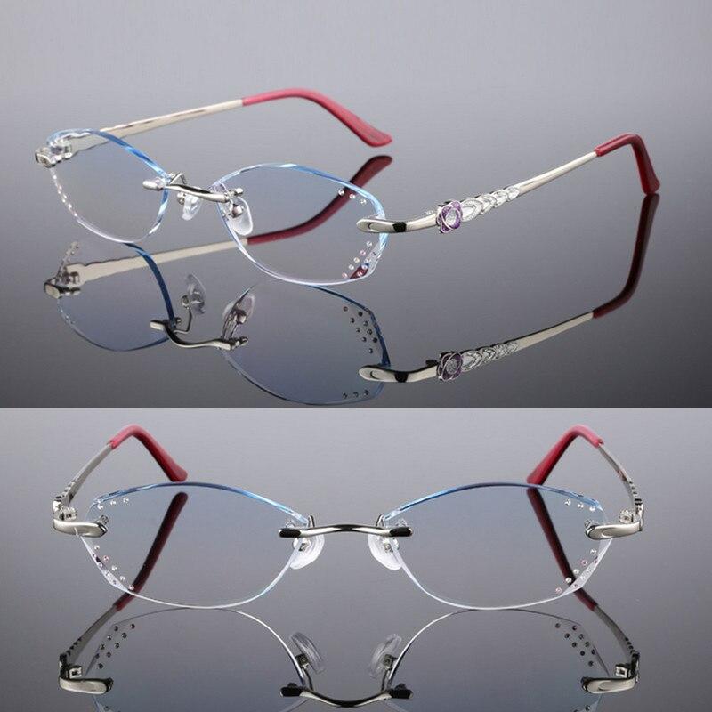 Weibliche Benutzerdefinierte Brille Modelle Lesebrille Rot Prescription rosa Gleitsichtgläser Schneiden Myopie silber Komplette Randlose purpurrot rwArRXqxC