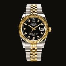 Top brand TACTO mens watches role style watch gold diamonds quartz man watch classic steel calendar waterproof male wristwatch
