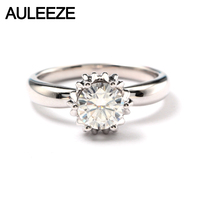 AULEEZE Genuine Solitaire 1ct Round Cut Moissanite Diamond Ring For Women 14k 585 White Gold Wedding Bands Fine Jewelry