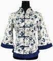 Envío Libre Blanco Azul de Lino de Las Mujeres Chinas Jacket Coat Tamaño Sml XL XXL XXXL 4XL 5XL 2218-2