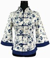 Free Shipping White Blue Chinese Women's Linen Jacket Coat Size S M L XL XXL XXXL 4XL 5XL 2218-2