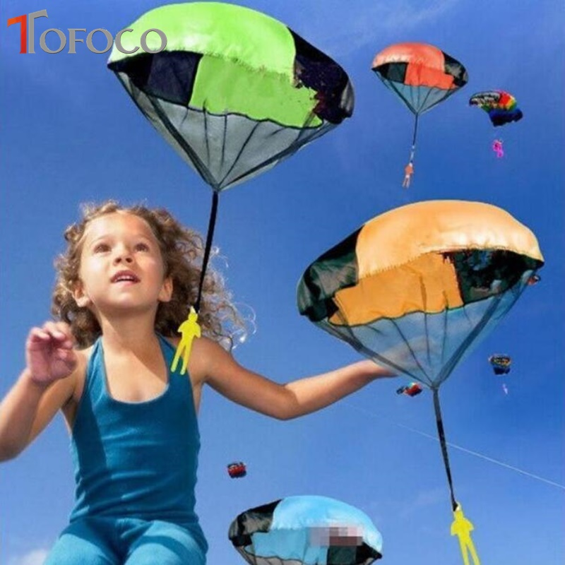 TOFOCO Hand Throwing Parachutes Kite Kids Mini Play Parachute Soldier Toy Propaganda Children'S Outdoor Garden Sports Toys Kites hand throwing kids mini play parachute toy soldier outdoor sports children s educational toys free shipping