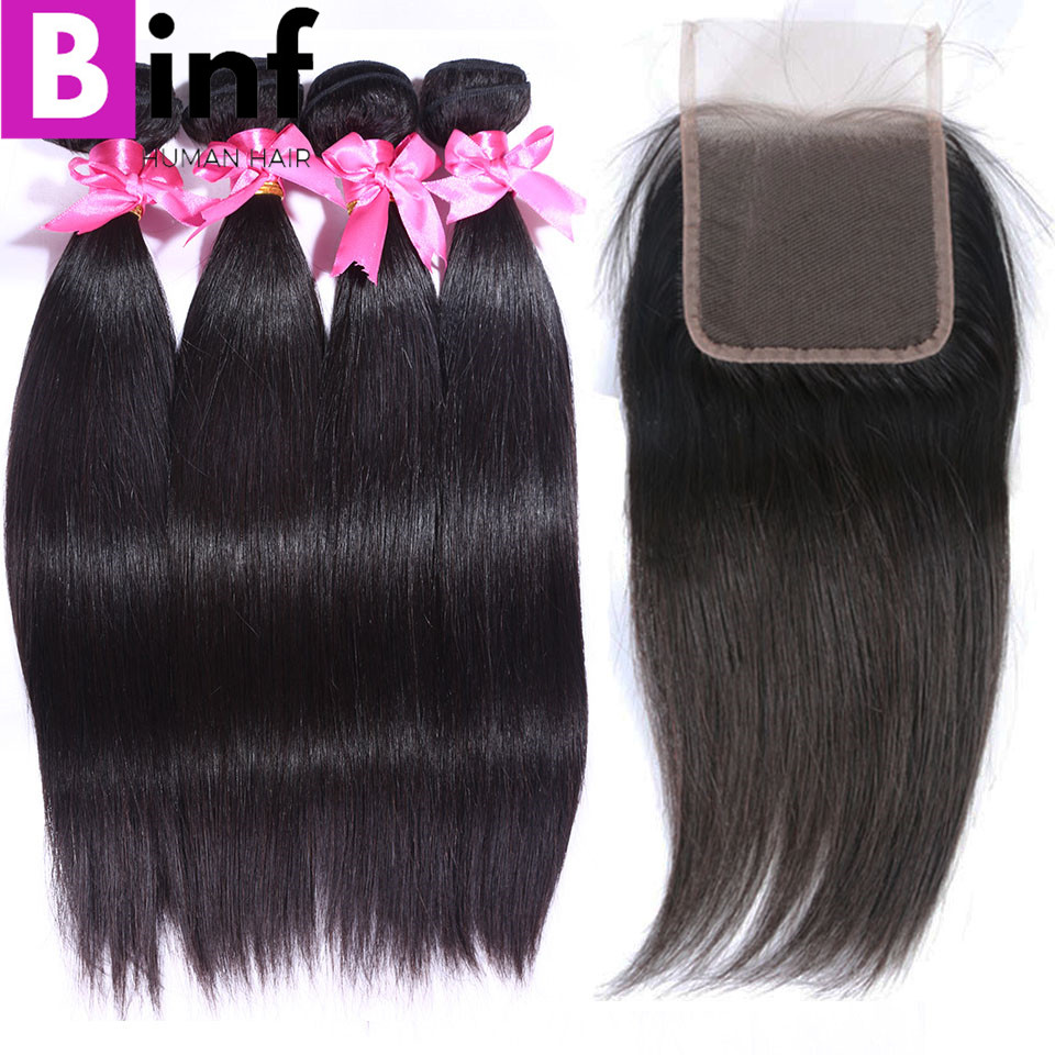 BINF Hair Indian Straight Hair 4 Bundles With Closure Human Hair Bundles With Closure 4x4 Lace Closure Non Remy Hair Color 1B