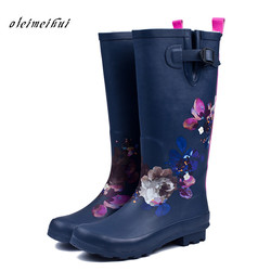 Rain Boots Women Pvc Prince Waterproof High Heel Water Shoes Tall Rain Boots Ankle Gummis Rain boots Female Rubber Toe Rainboots
