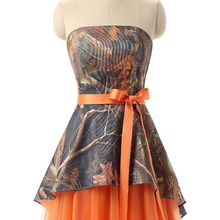 Orange Camouflage Bridesmaid Dresses Plus Size Wedding Party