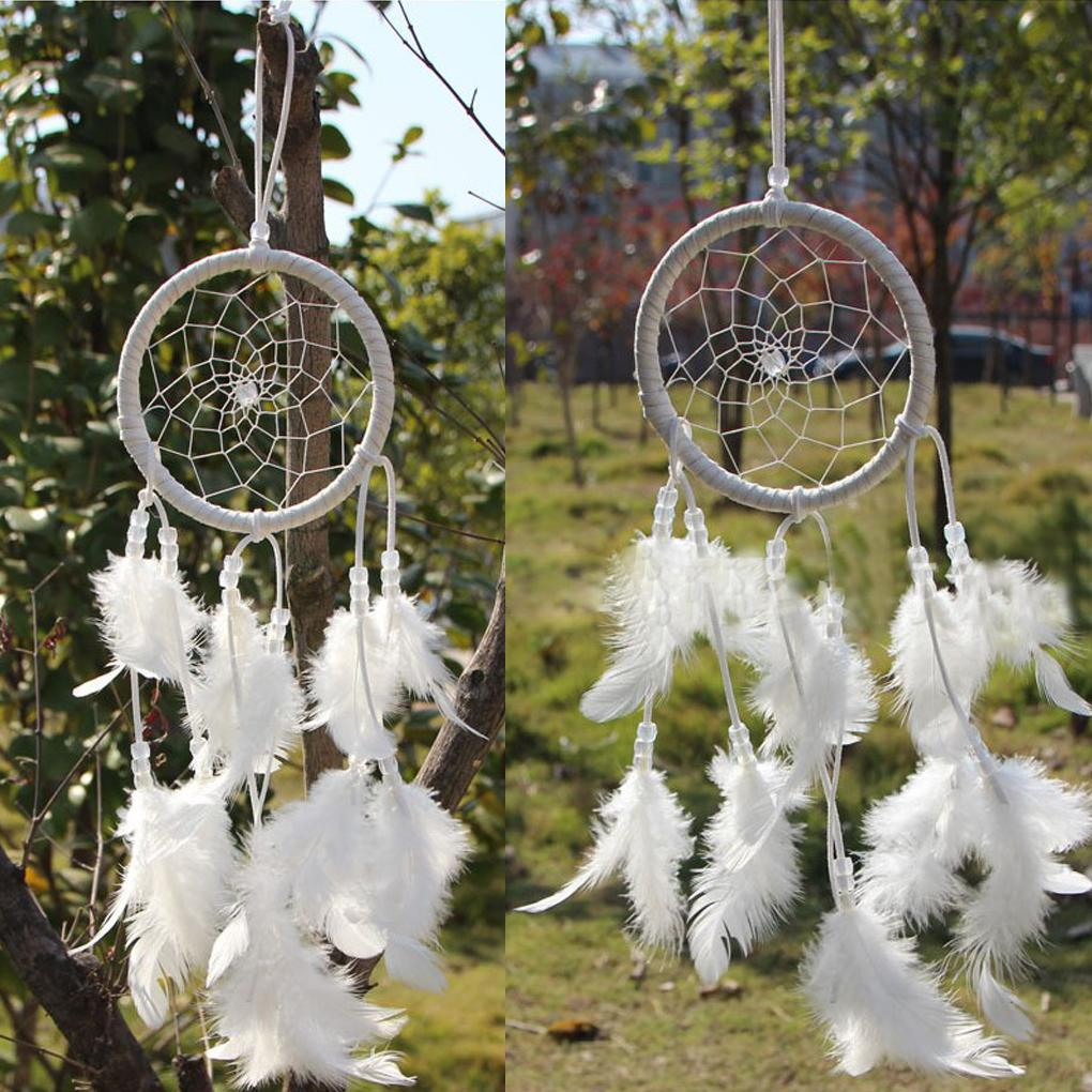 Outdoor hanging ornaments - Wind Chimes Indian Style Home Dream Catcher Circular With White Feathers Wall Hanging Decoration Decor Craft
