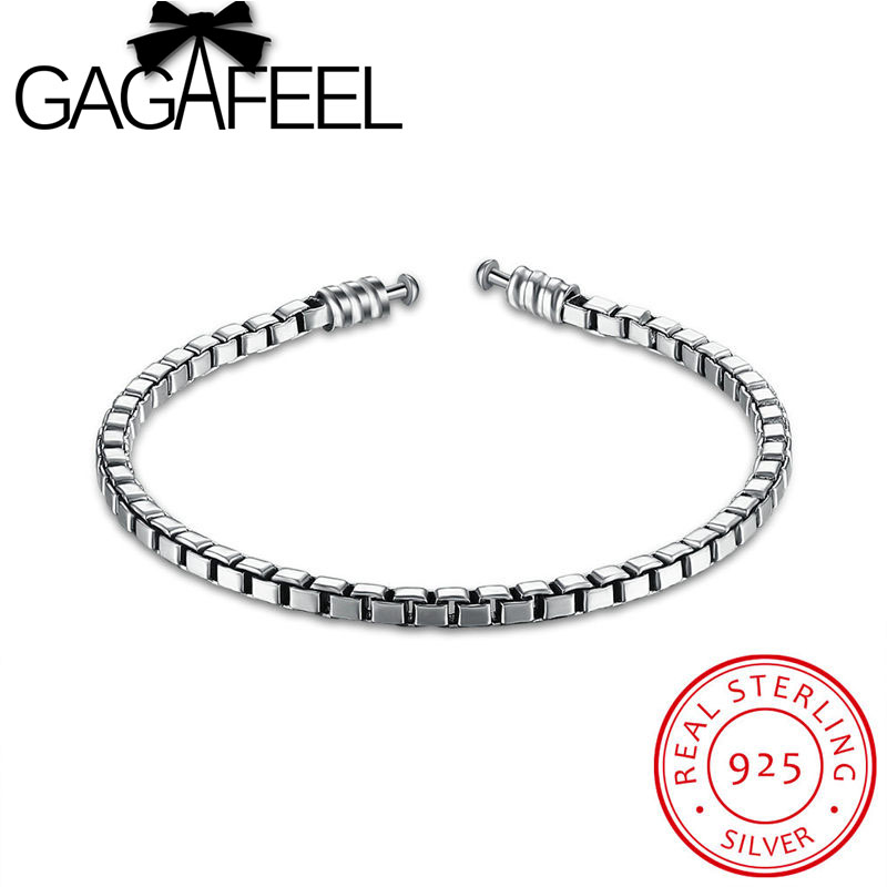Luxury 100 925 Sterling Silver Chain Bracelets Fit Original Charm Bead 19cm Women Authentic Jewelry Bracelet