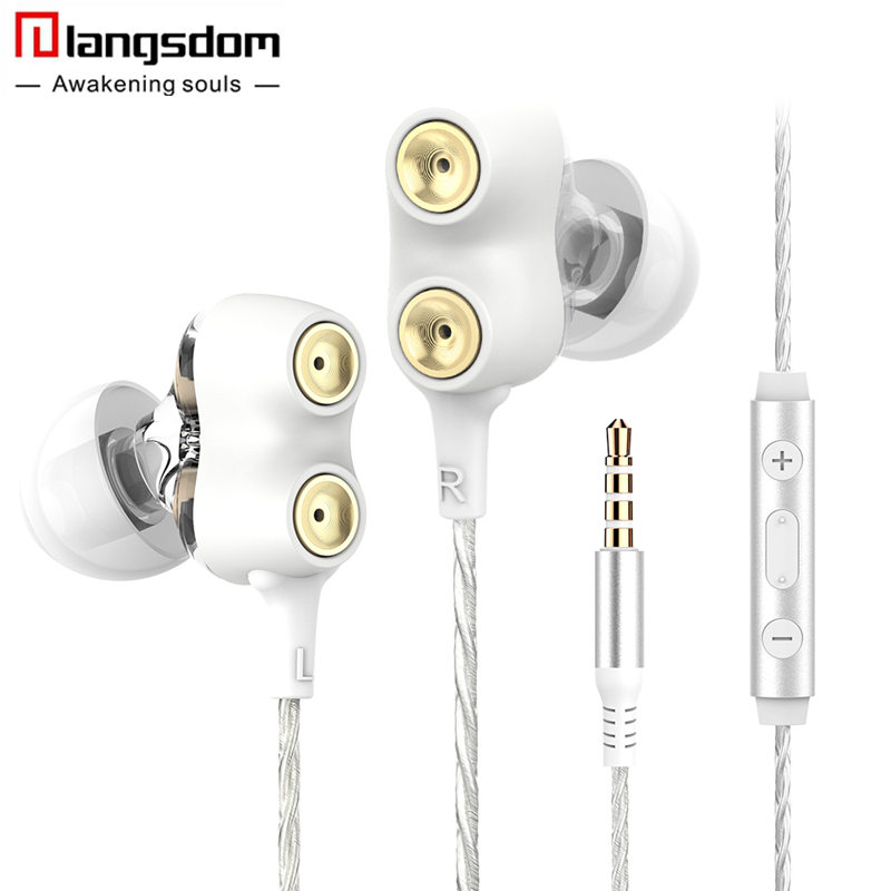 New Langsdom Phone Earphones with Microphone Dual Driver In-ear Earphone Headset for Phone Earbuds fone de ouvido mp3 xiaomi