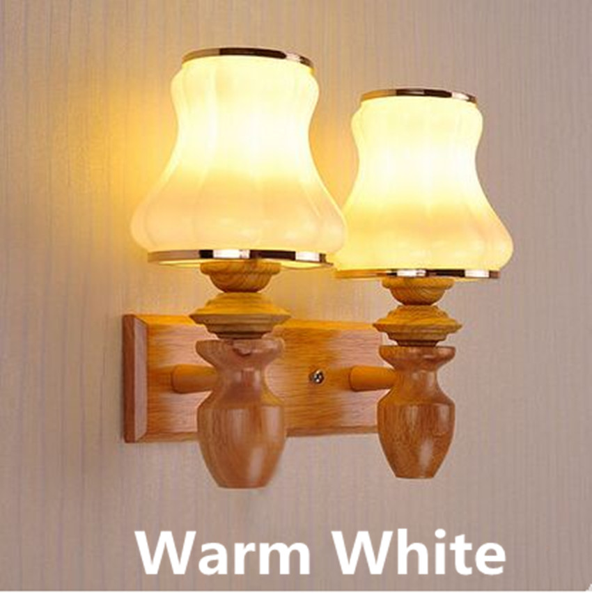 Bedroom wood bed led lamp simple living room entrance corridor staircase wooden art modern warm decorative wall lamp 220V led