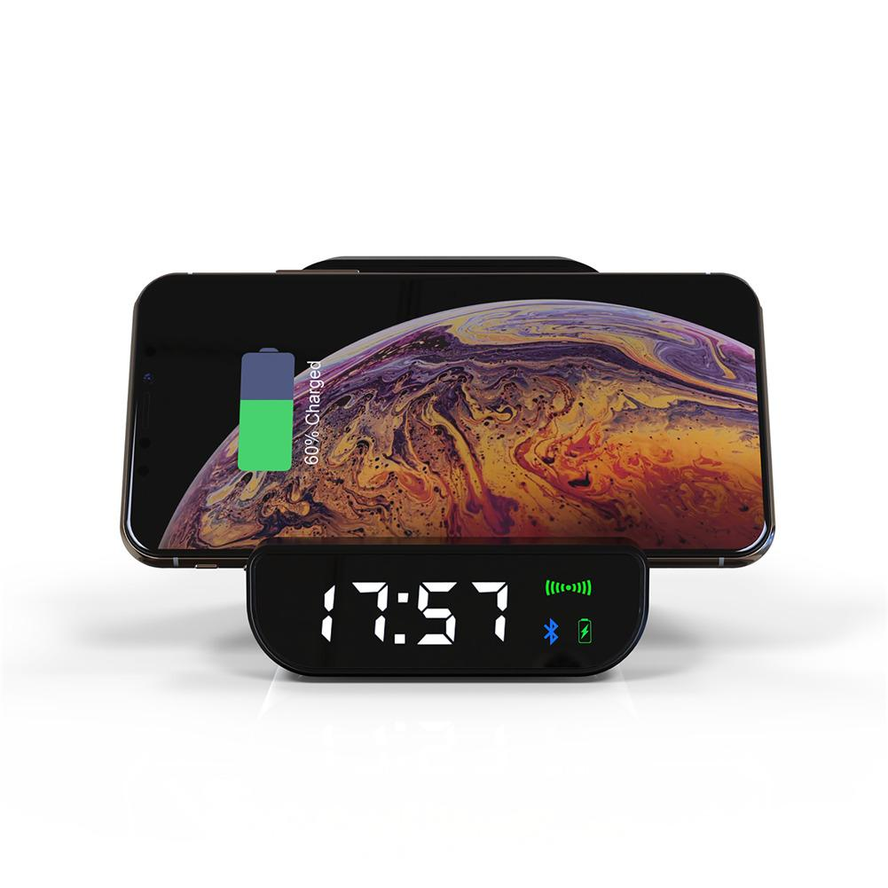 4 In 1 Wireless Charging Mobile Power Mini Bluetooth Stereo Speaker Alarm Clock Charger Clock Loudspeaker Outdoor Music Player